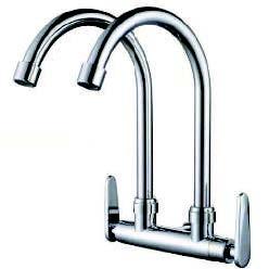 Saniware Silver Double Spout Kitchen Wall Sink Tap